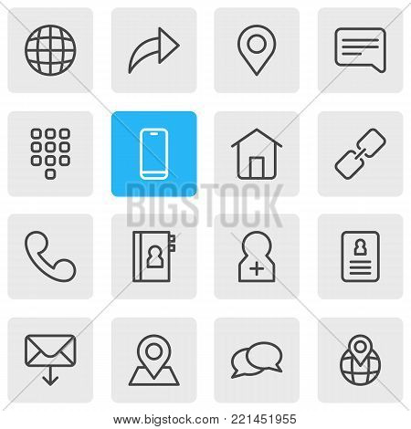 illustration of 16 community icons line style. Editable set of conversation, url, letter and other elements.