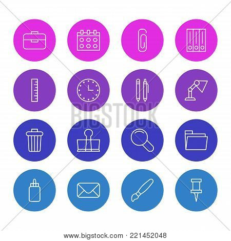 illustration of 16 instruments icons line style. Editable set of dossier, portfolio, pencil and other elements.