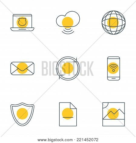 illustration of 9 internet icons line style. Editable set of photo, safeguard, telephone and other elements.