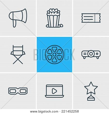 illustration of 9 cinema icons line style. Editable set of bullhorn, projector, 3d glasses and other elements.