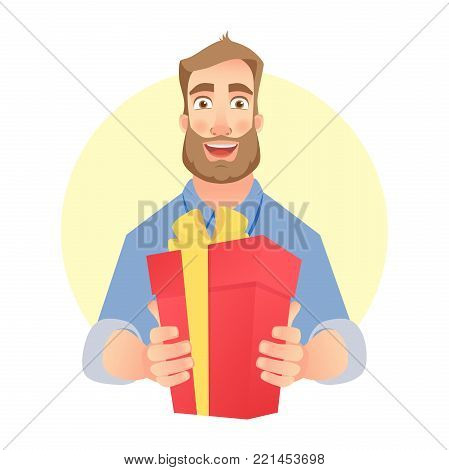 Give a gift. Hands holding red present box. Young man is gives present
