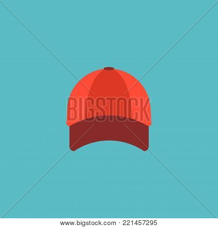 Baseball cap icon flat element. Vector illustration of baseball cap icon flat isolated on clean background for your web mobile app logo design.