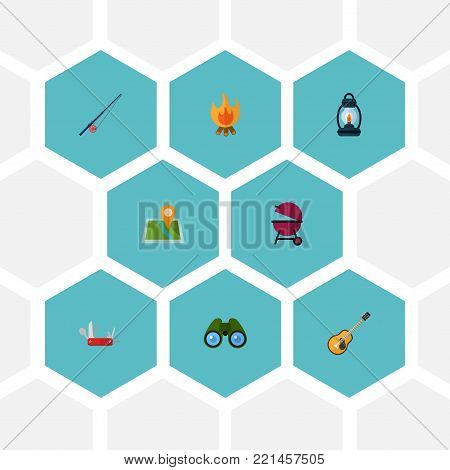 Set of camp icons flat style symbols with clash knife, binoculars, bbq and other icons for your web mobile app logo design.