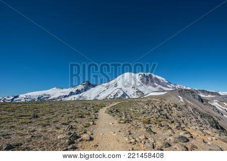 Burroughs Mountain Trail with Mount Rainier in Background in summer