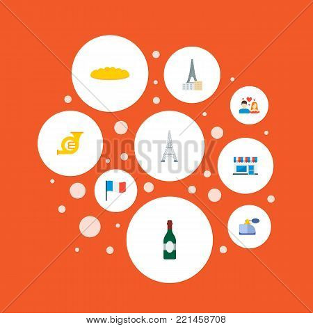 Set of country icons flat style symbols with baguette, perfumery, cafe and other icons for your web mobile app logo design.