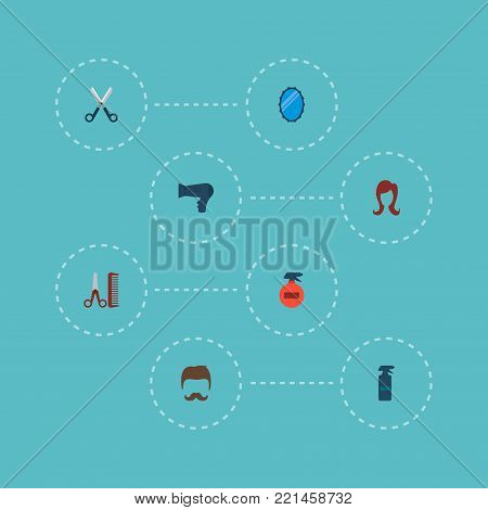 Set of shop icons flat style symbols with hairdresser, hairdryer, hairspray and other icons for your web mobile app logo design. poster
