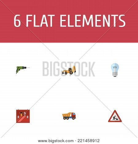 Set of industry icons flat style symbols with drill, workman sign, toolbox and other icons for your web mobile app logo design. poster