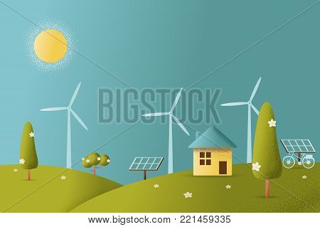 eco friendly house - solar energy, wind energy,Green energy ,urban landscape,Vector texture style concept illustration.