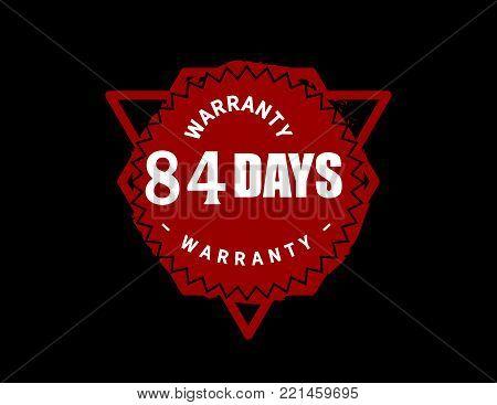 84 days warranty icon vintage rubber stamp guarantee
