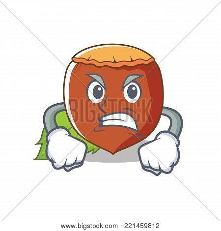 Angry hazelnut mascot cartoon style vector illustration