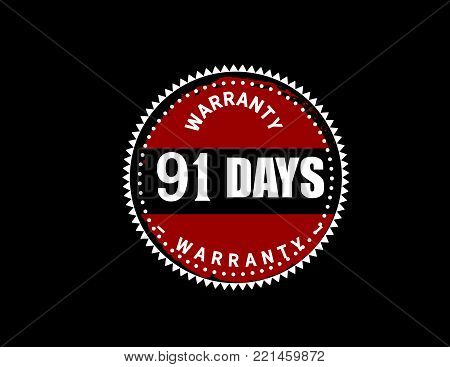 91 days warranty icon vintage rubber stamp guarantee