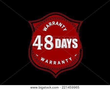 48 days warranty icon vintage rubber stamp guarantee