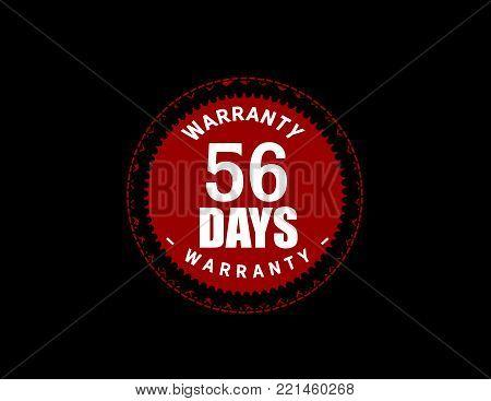 56 days warranty icon vintage rubber stamp guarantee