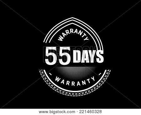 55 days warranty icon vintage rubber stamp guarantee