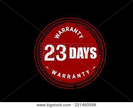 23 days warranty icon vintage rubber stamp guarantee