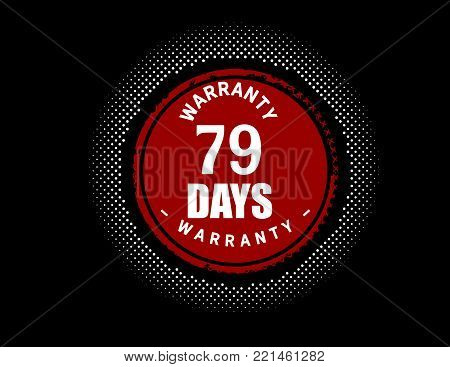 79 days warranty icon vintage rubber stamp guarantee