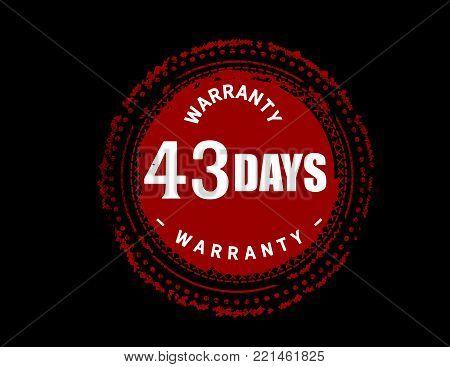 43 days warranty icon vintage rubber stamp guarantee