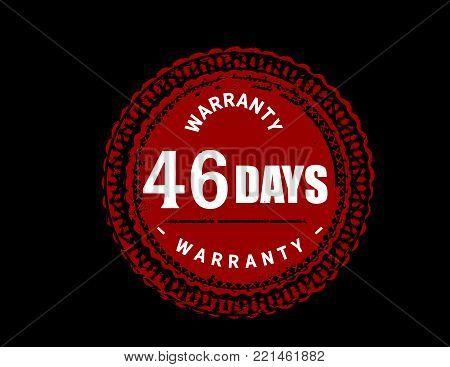 46 days warranty icon vintage rubber stamp guarantee