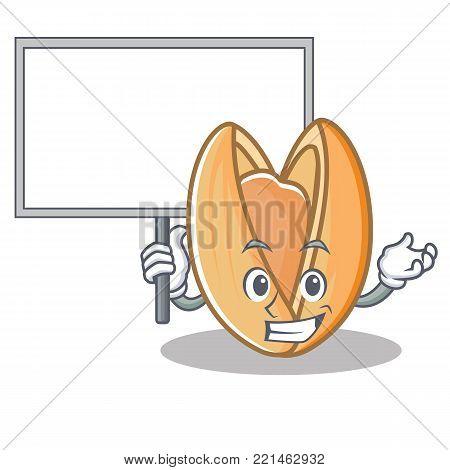 Bring board pistachio nut character cartoon vector illustration