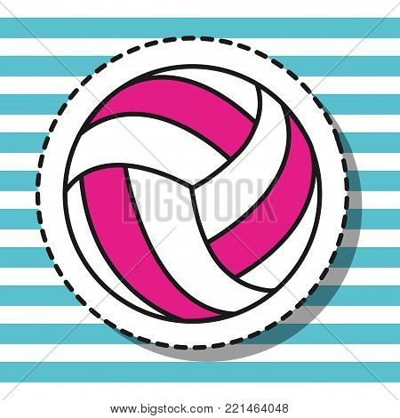volleyball ball sport patch design vector illustration