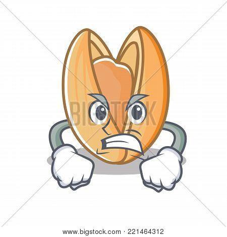 Angry pistachio nut mascot cartoon vector illustration