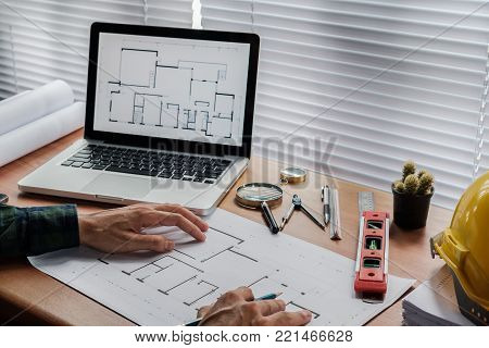 Architect Man Drawing On Architectural Project. Architect  Concept