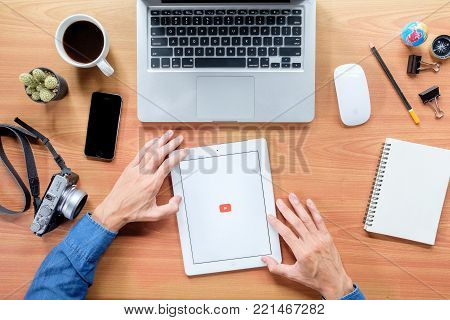 CHIANGMAI, THAILAND -November 14,2017:IPad 4 open Youtube application. YouTube is the popular online video sharing website.