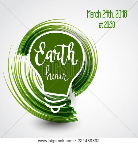Vector Earth hour 2018 hand-drawn grass green poster design