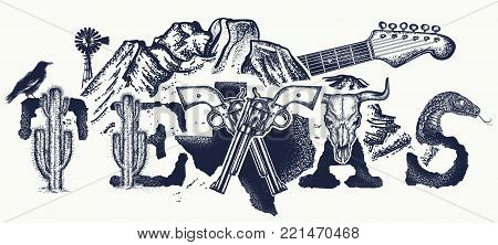 Texas Tattoo And T-shirt Design. Texas Slogan. Mountains, Revolvers, Skull Bison, Cactus, Guitar. Am