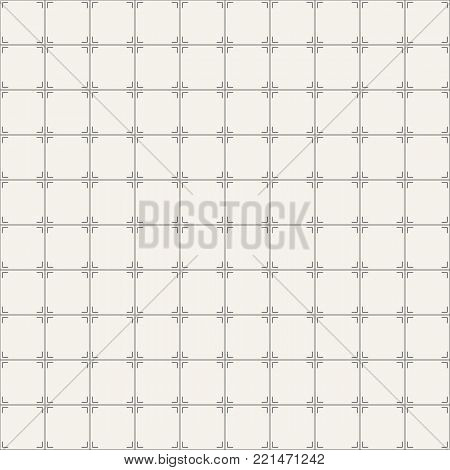 Vector seamless pattern. Regularly repeating geometric square tiles with rectangular lines at the corners. Geometric lattice. Modern stylish texture. Abstract geometric background.