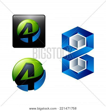 3d square Rounded numeral four 4 and hexagonal number 8 eight Logo design Template elements