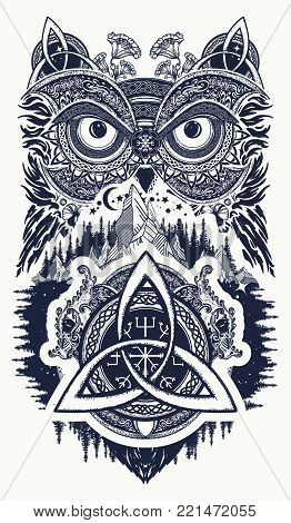 Owl and celtic dragons tattoo art. Owl in ethnic celtic style t-shirt design. Owl tattoo symbol of wisdom, meditation, thinking, tourism, adventure