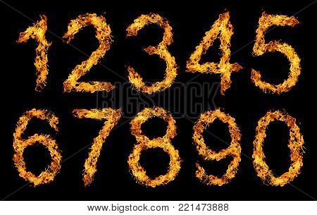 Numbers 1,2,3,4,5,6,7,8,9,0 made from fire flame isolated on black background.