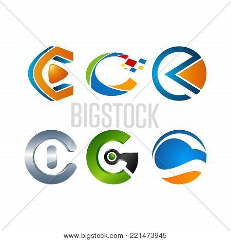 Various 3D C letter Initial alphabet Logo design Template elements