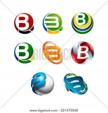 Various 3D letter B vector Initial alphabet Logo design Template elements