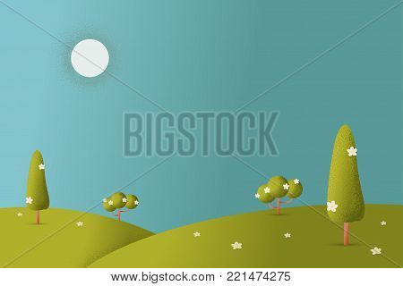 Meadow landscape with grass foreground texture style vector illustration.Green field and sky blue