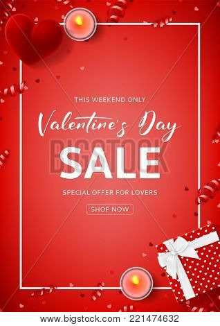 Red Promo Flyer for Valentine's Day Sale. Top view on composition with gift box, case for ring, candles and confetti on Red Backdrop. Vector illustration with Seasonal Discount Offer.