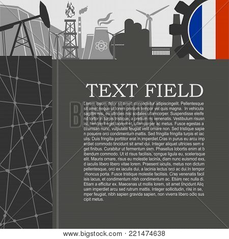 Energy and Power icons set. Sustainable energy generation and heavy industry. Field for text. Modern brochure, report or leaflet design template. Flag of France in gear
