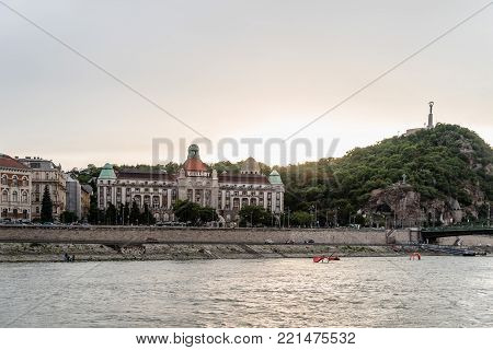 Budapest, Hungary - August 12, 2017:  Gellert Thermal Baths and Swimming Pool  in Budapest. The bath complex was built in the  Art Nouveau style. The Baths contains water from mineral hot springs.