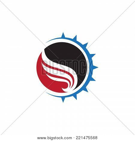 Abstract wings vector logo for delivery, cargo, business companies. Badge company wing logo, business wing logo, icon wing fast illustration