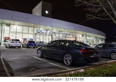 Vancouver Bc, Canada - January 9, 2018: Office Of Official Dealer Bmw. Bmw Is A German Automobile Ma