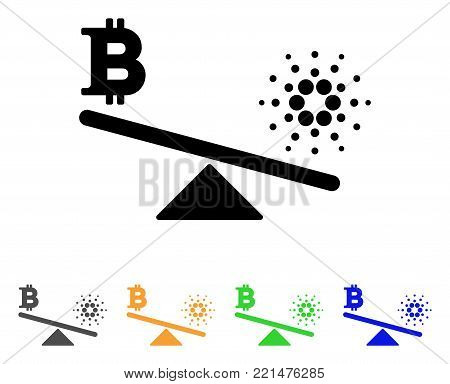 Bitcoin Cardano Balance Swings icon. Vector illustration style is a flat iconic bitcoin cardano balance swings black symbol with grey, yellow, green, blue color versions.