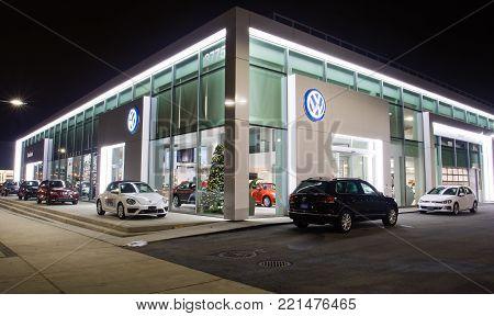 Vancouver Bc, Canada - January 9, 2018: Office Of Official Dealer Volkswagen. Volkswagen Is A German