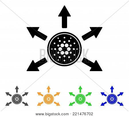 Cardano Coin Distribution Arrows icon. Vector illustration style is a flat iconic cardano coin distribution arrows black symbol with gray, yellow, green, blue color versions.