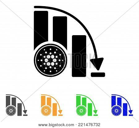 Cardano Coin Down Chart icon. Vector illustration style is a flat iconic cardano coin down chart black symbol with grey, yellow, green, blue color variants. Designed for web and software interfaces.