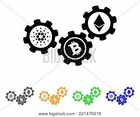Cardano Cryptocurrency Engine icon. Vector illustration style is a flat iconic cardano cryptocurrency engine black symbol with grey, yellow, green, blue color versions.