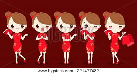 cartoon woman wear cheongsam and take red envelope on the red background