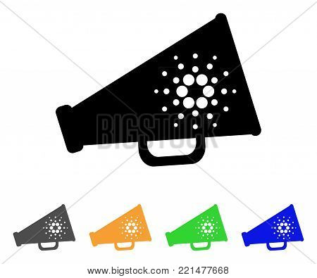 Cardano Megaphone icon. Vector illustration style is a flat iconic cardano megaphone black symbol with grey, yellow, green, blue color versions. Designed for web and software interfaces.