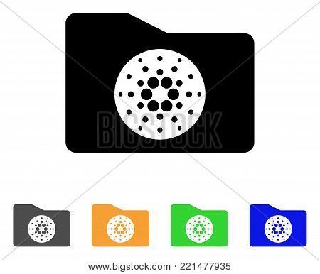 Cardano Purse icon. Vector illustration style is a flat iconic cardano purse black symbol with grey, yellow, green, blue color versions. Designed for web and software interfaces.
