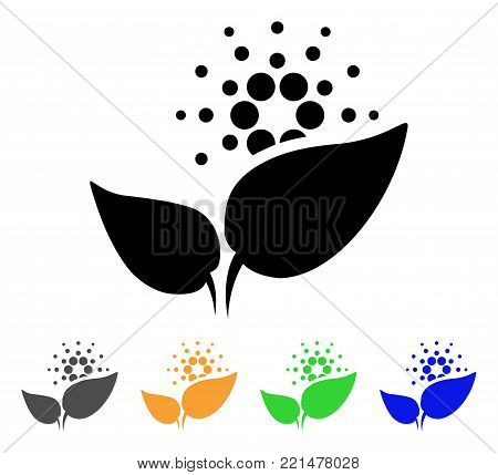 Cardano Startup Sprout icon. Vector illustration style is a flat iconic cardano startup sprout black symbol with gray, yellow, green, blue color variants. Designed for web and software interfaces.